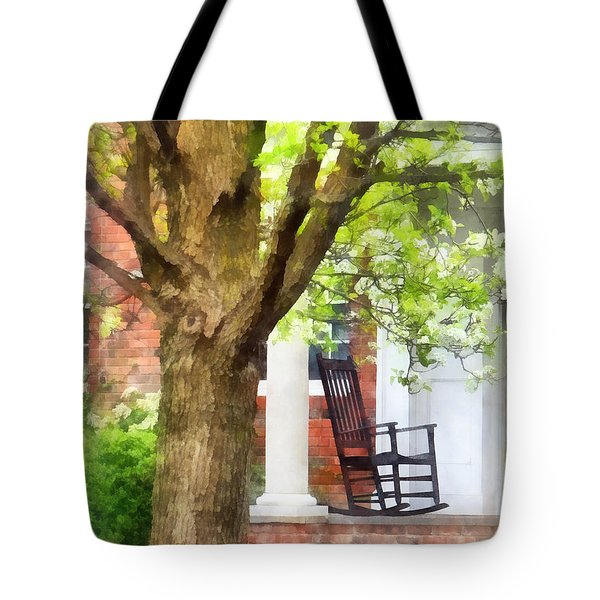 Suburbs - Rocking Chair On Porch Tote Bag by Susan Savad