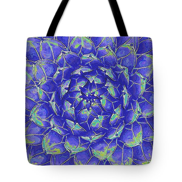 Tote Bag featuring the digital art Succulent - Blue by Jane Schnetlage