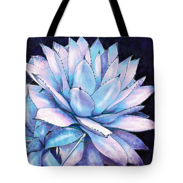 Tote Bag featuring the digital art Succulent In Blue And Purple by Jane Schnetlage