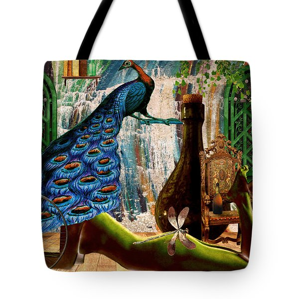 Tote Bag featuring the painting Suck My Peacock by Ally  White