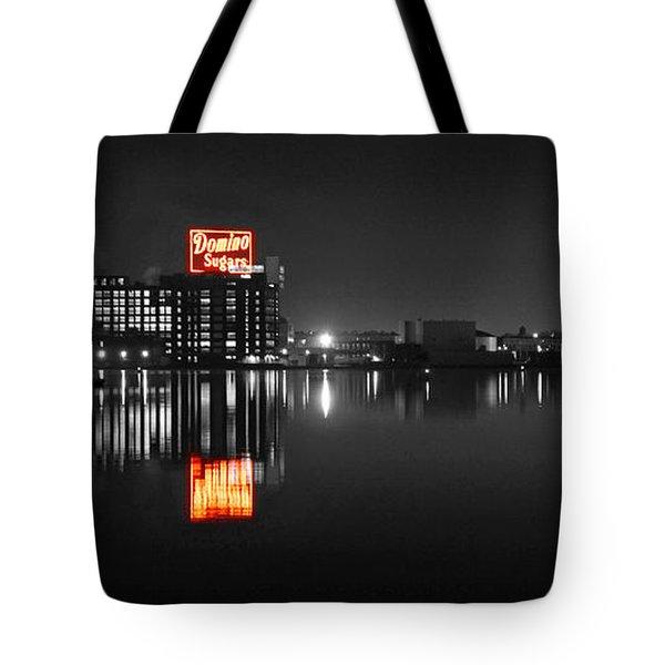 Sugar Glow - Classic Iconic Domino Sugars Neon Sign, Inner Harbor Baltimore, Maryland - Color Splash Tote Bag