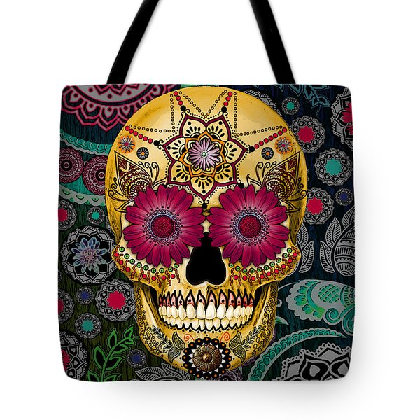 Sugar Skull Paisley Garden - Copyrighted Tote Bag by Christopher Beikmann
