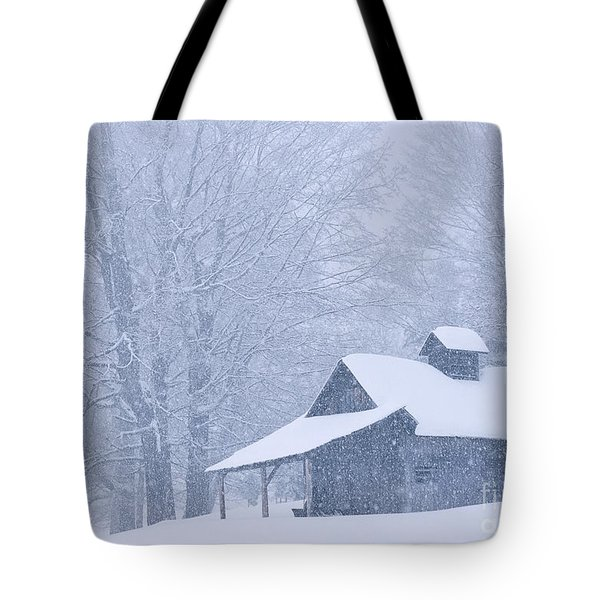 Tote Bag featuring the photograph Sugarhouse Snowfall by Alan L Graham