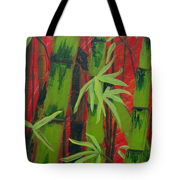 Sultry Bamboo Forest Acrylic Painting Tote Bag