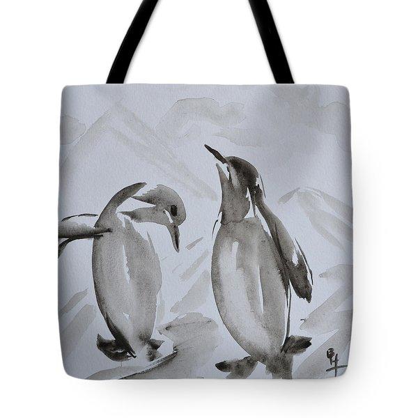 Sumi-e Penguin Dance Tote Bag