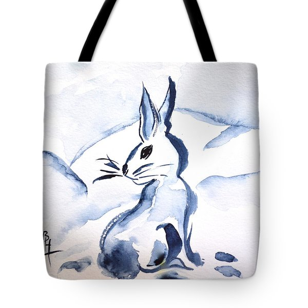 Sumi-e Snow Bunny Tote Bag by Beverley Harper Tinsley