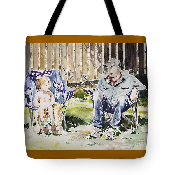 Grandfather  And Grandson Summer Bonding Tote Bag