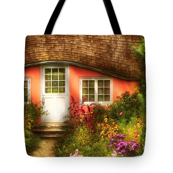 Summer - Cottage - Little Pink Play House Tote Bag by Mike Savad