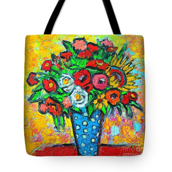 Summer Floral Bouquet - Sunflowers Poppies And Roses Tote Bag by Ana Maria Edulescu