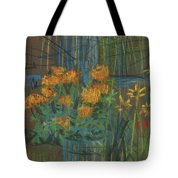 Tote Bag featuring the painting Summer Flowers by Donald Maier