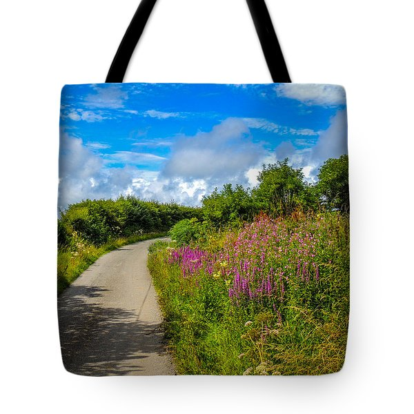 Summer Flowers On Irish Country Road Tote Bag