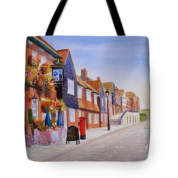 Tote Bag featuring the painting Summer Folkestone Harbour Uk by Beatrice Cloake