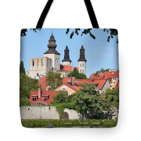 Summer Green Medieval Town Tote Bag