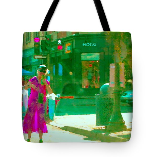 Summer Heatwave Too Hot To Walk Lady Hailing Taxi Cab At Hogg Hardware Rue Sherbrooke Carole Spandau Tote Bag by Carole Spandau