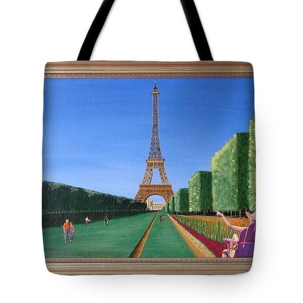 Tote Bag featuring the painting Summer In Paris by Ron Davidson