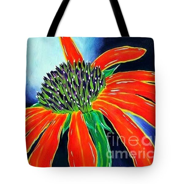 Tote Bag featuring the painting Summer Kissed Cone Flower by Jackie Carpenter