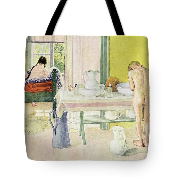 Summer Morning Pub In Lasst Licht Hinin Let In More Light Tote Bag by Carl Larsson