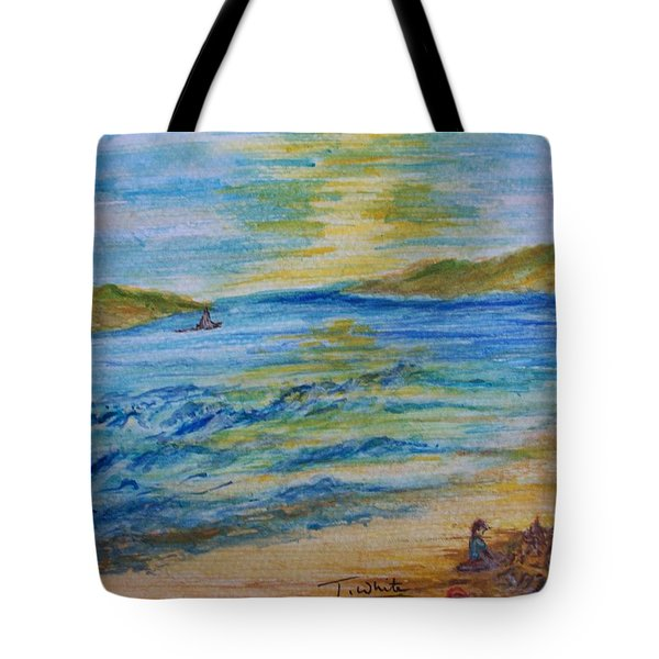 Tote Bag featuring the painting Summer/ North Wales  by Teresa White