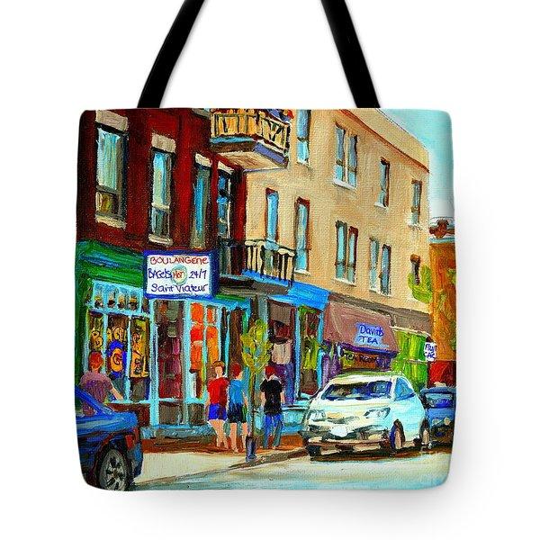 Summer On Saint Viateur Street Strolling By The Bagel Shop And David's Tea Room  Montreal City Scene Tote Bag by Carole Spandau