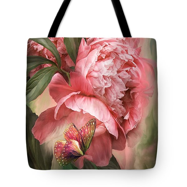 Summer Peony - Melon Tote Bag by Carol Cavalaris