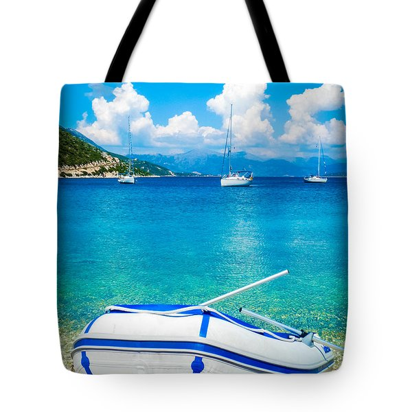 Summer Sailing In The Med Tote Bag by Peta Thames