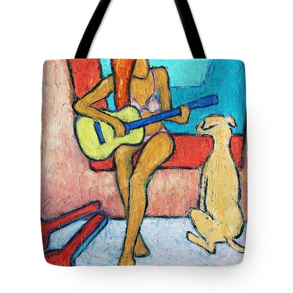 Tote Bag featuring the painting Summer Serenade I by Xueling Zou