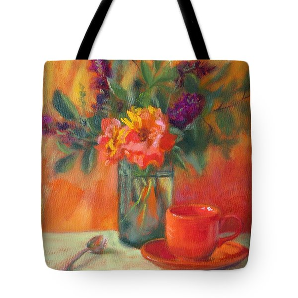 Summer Song- Orange Roses And Butterfly Bush Blooms Tote Bag by Bonnie Mason