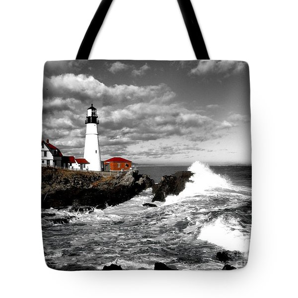 Summer Waves Red Stroke Bw Tote Bag
