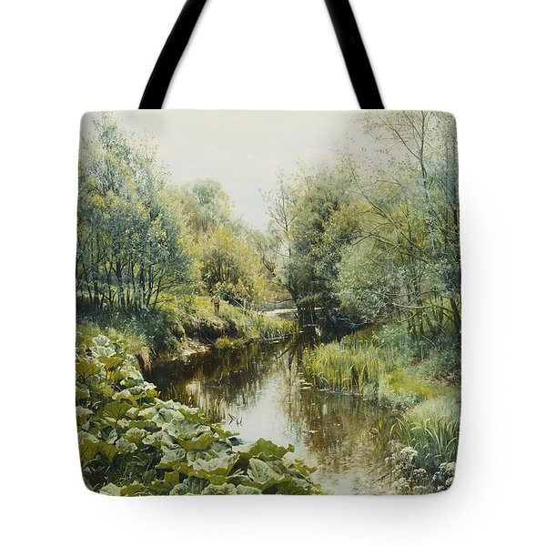Summerday At The Stream Tote Bag by Peder Monsted