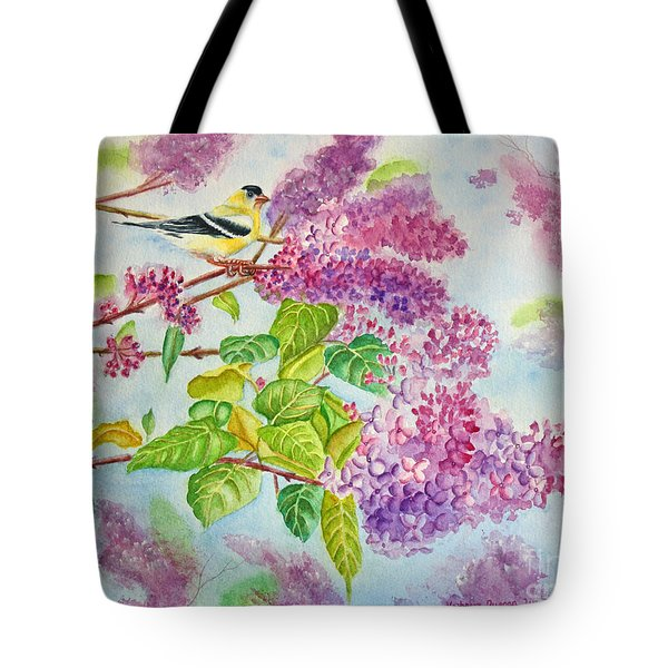 Summertime Arrival II - Goldfinch And Lilacs Tote Bag by Kathryn Duncan