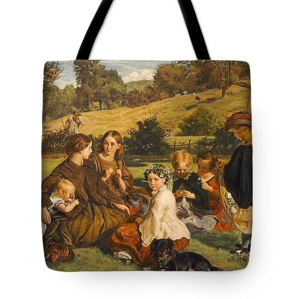 Summertime, Gloucestershire, Exh.1860 Oil On Canvas Tote Bag