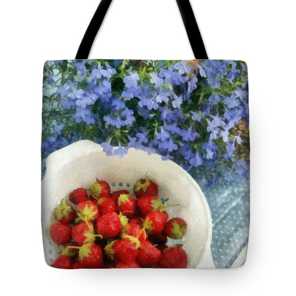 Summertime Table Tote Bag by Michelle Calkins