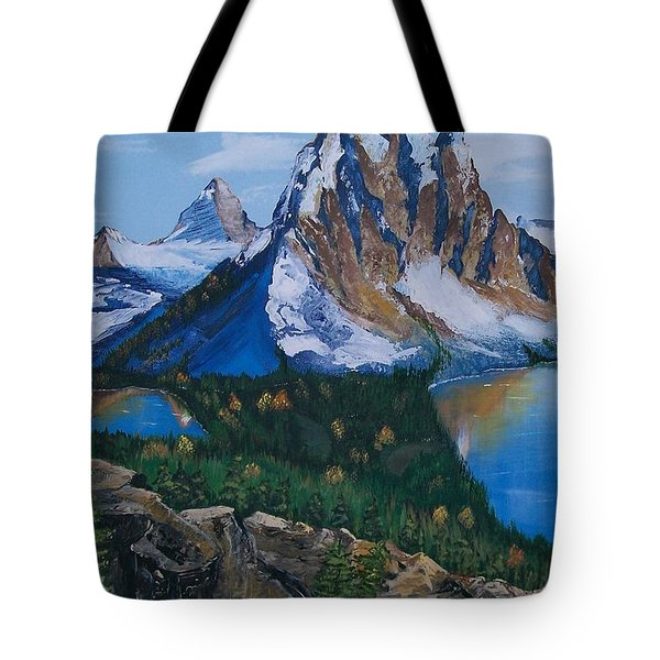 Tote Bag featuring the painting Sun Burst Peak by Sharon Duguay