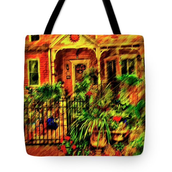 Tote Bag featuring the painting Sun Dial House by Ted Azriel