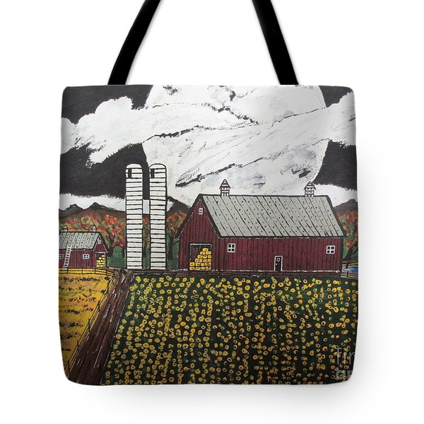 Tote Bag featuring the painting Sun Flower Farm by Jeffrey Koss