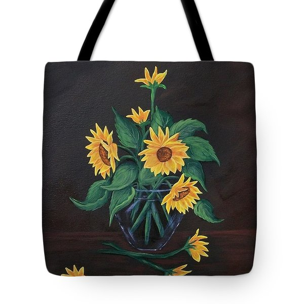 Tote Bag featuring the painting Sun Flowers  by Sharon Duguay