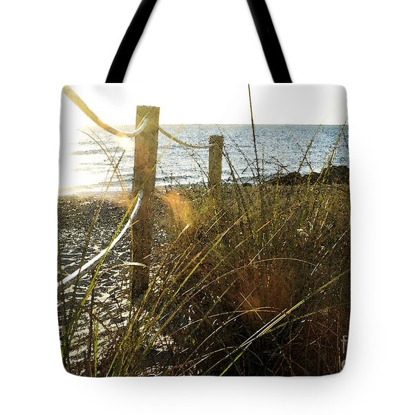 Sun Glared Grassy Beach Posts Tote Bag