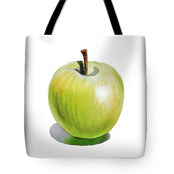 Tote Bag featuring the painting Sun Kissed Green Apple by Irina Sztukowski