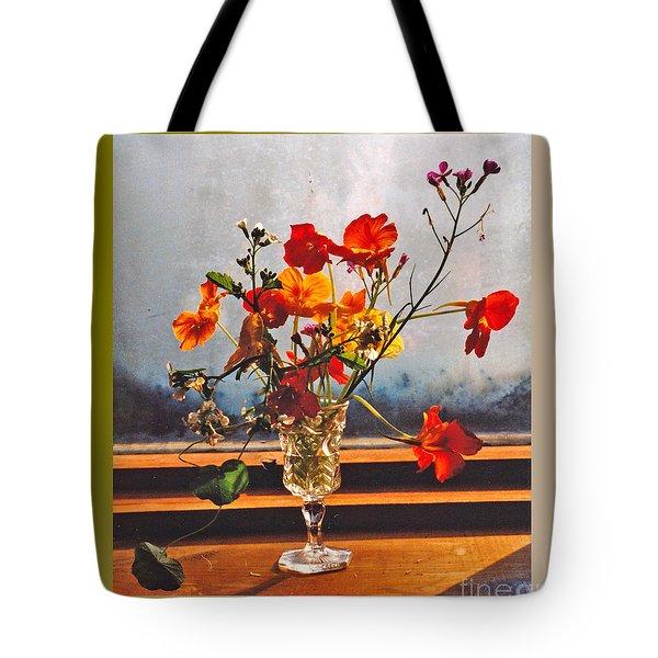 Sun Lite Nasturtium Flowers And Company Tote Bag by Patricia Keller