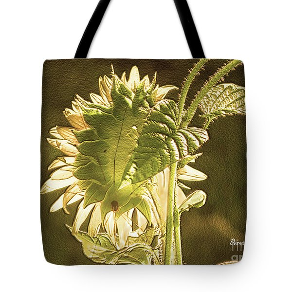 Tote Bag featuring the photograph Sun-lite Sunflowwer by Donna Brown