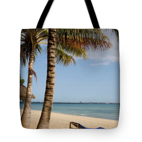 Sun Lounger, Beach And Palm Trees Tote Bag