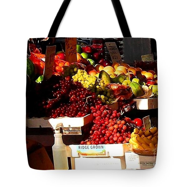 Tote Bag featuring the photograph Sun On Fruit Close Up by Miriam Danar
