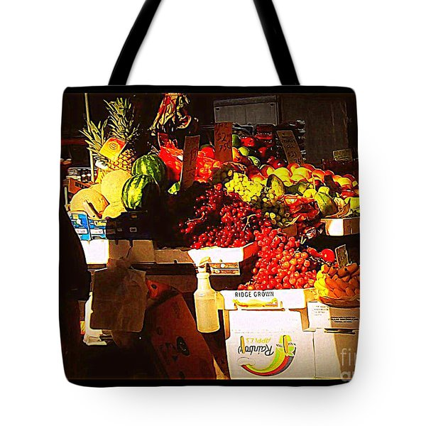 Tote Bag featuring the photograph Sun On Fruit by Miriam Danar