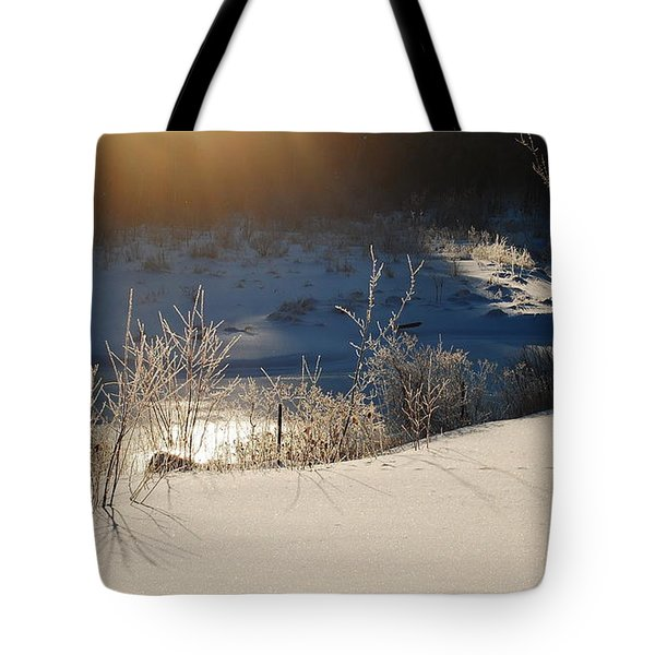 Tote Bag featuring the photograph Sun On Snow by Mim White
