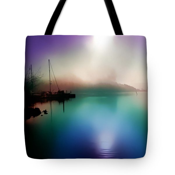 Tote Bag featuring the photograph Sun Peeking Through The Clouds  In Kenmore Washington by Eddie Eastwood