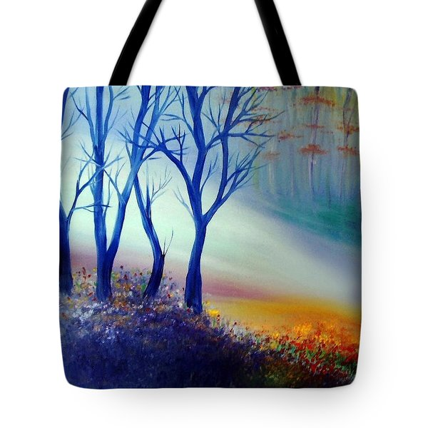 Tote Bag featuring the painting Sun Ray In Blue  by Lilia D