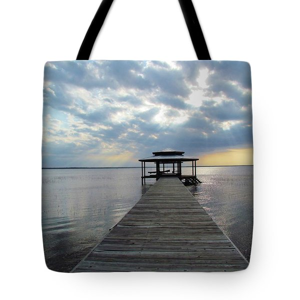 Sun Rays On The Lake Tote Bag by Cynthia Guinn