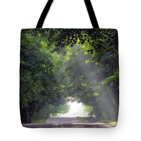 Sun Rays On Waters End Road Tote Bag