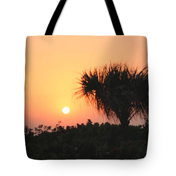 Sun Rise And Palm Tree Tote Bag