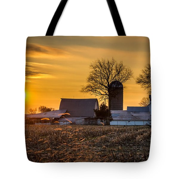 Sun Rise Over The Farm Tote Bag